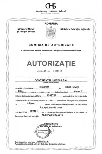 Continental Hotels - Primul și singurul din INDUSTRIA HOTELIERĂ din România certificat ca FORMATOR AUTORIZAT ÎN TURISM!